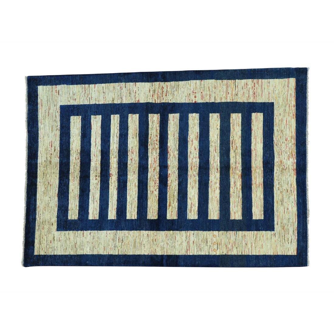 100 Percent Wool Peshawar Gabbeh Hand Knotted Rug 5.7x8