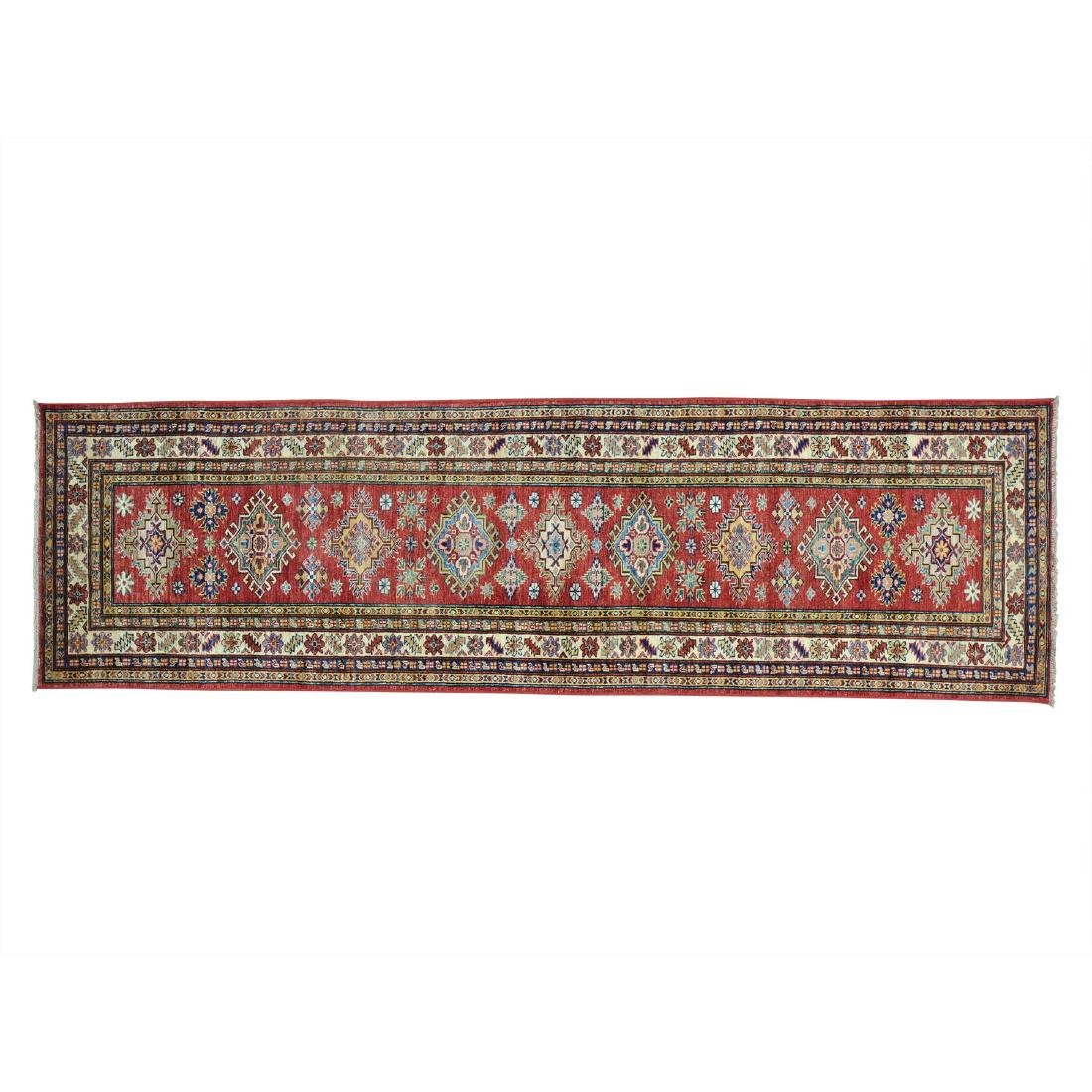 Tribal Design Wool Handmade Runner Kazak Rug 2.9x9.5