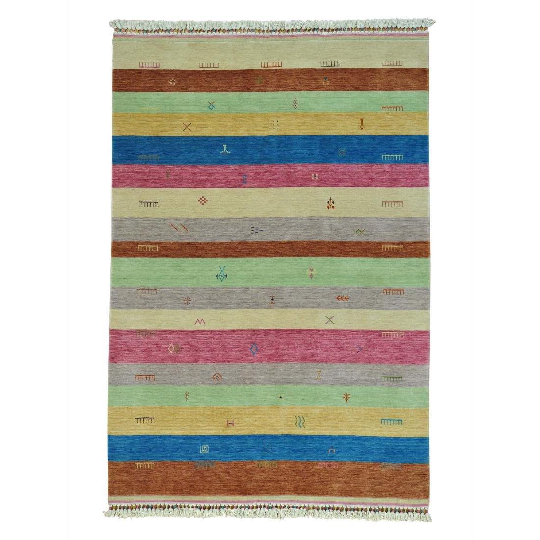 Striped Modern Hand Loomed Gabbeh Pure Wool Rug 5.6x8