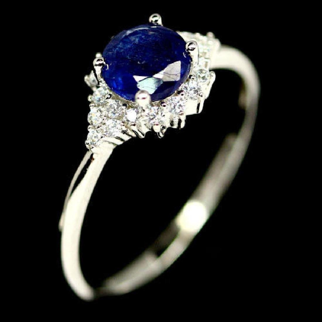 Blue Sapphire Natural & White CZ Silver Sterling Ring