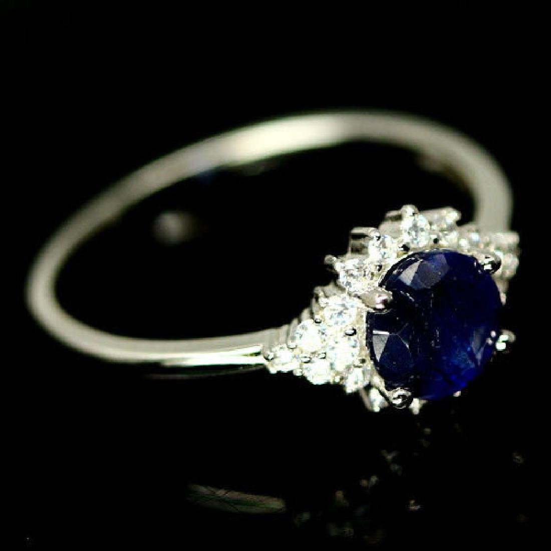 Blue Sapphire Natural & White CZ Silver Sterling Ring - 2