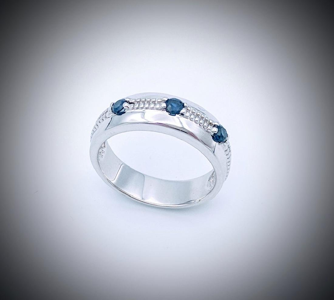 Sterling Silver Ring with Blue Sapphire, .33ctw