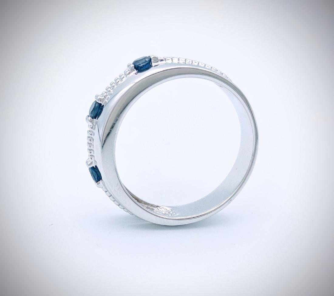 Sterling Silver Ring with Blue Sapphire, .33ctw - 2