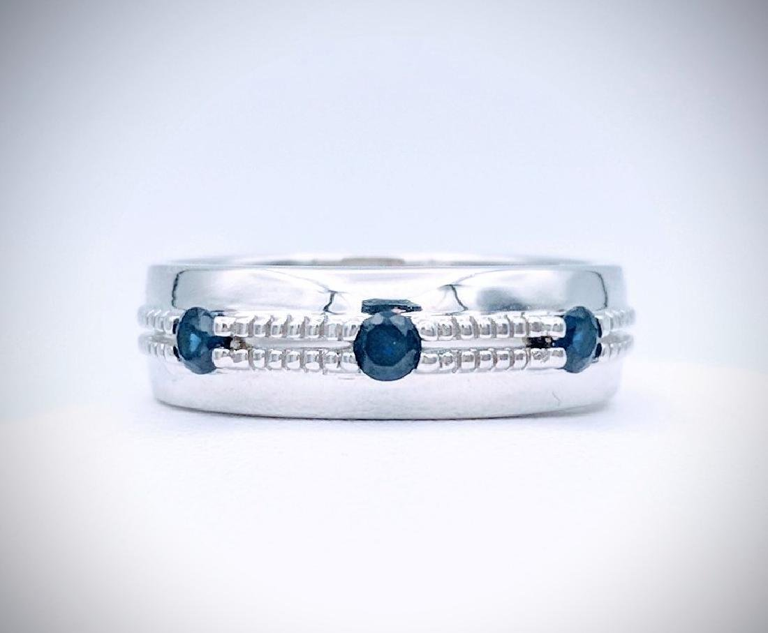 Sterling Silver Ring with Blue Sapphire, .33ctw - 3