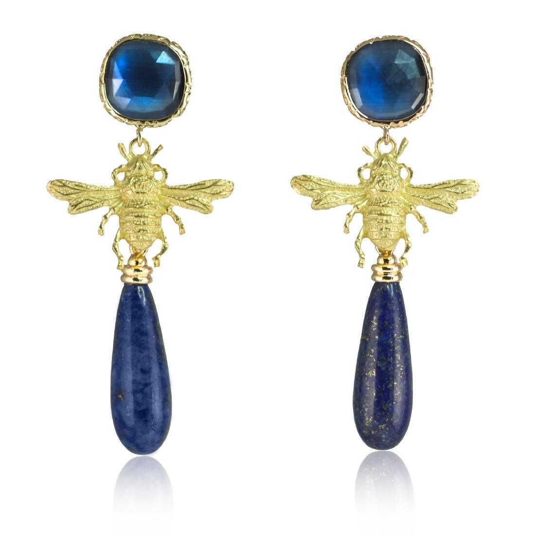 Lapis lazuli Fly Eye-catching Earrings
