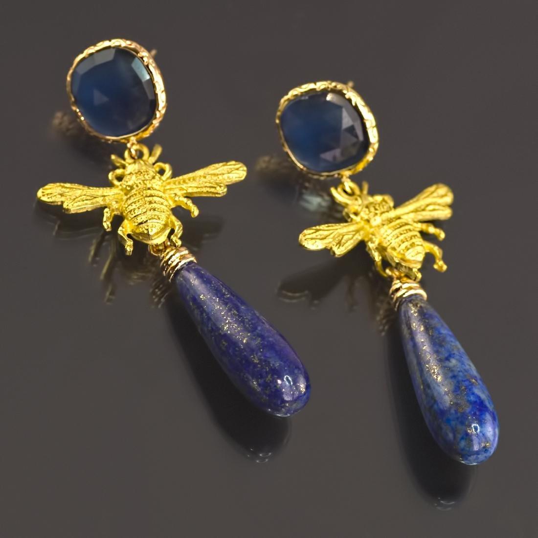 Lapis lazuli Fly Eye-catching Earrings - 2