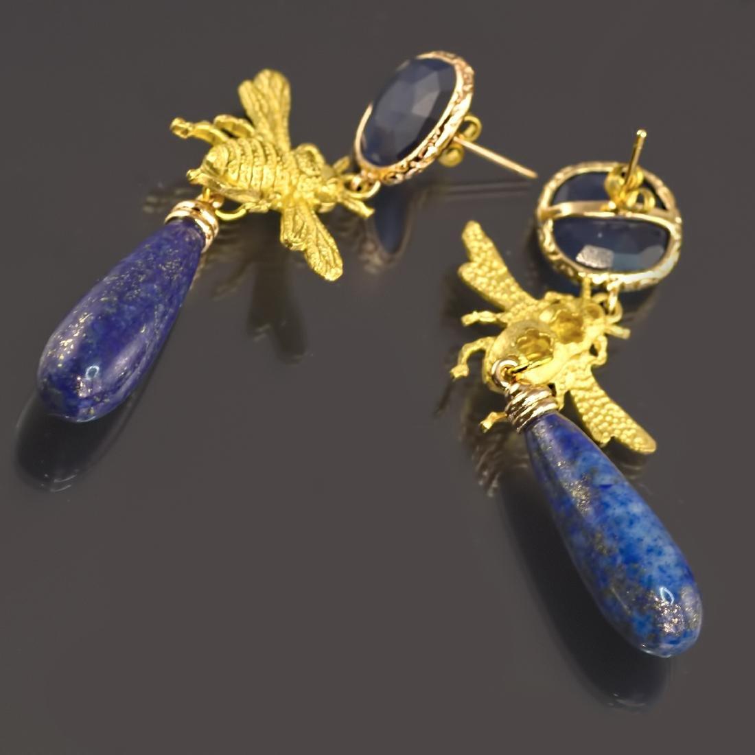 Lapis lazuli Fly Eye-catching Earrings - 3
