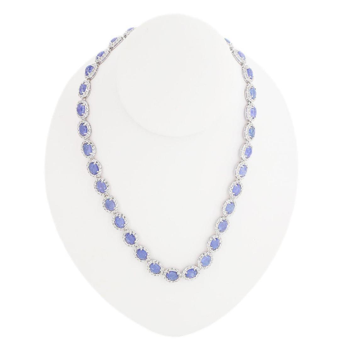 46.00ctw Tanzanite 13.78ctw White Topaz Necklace