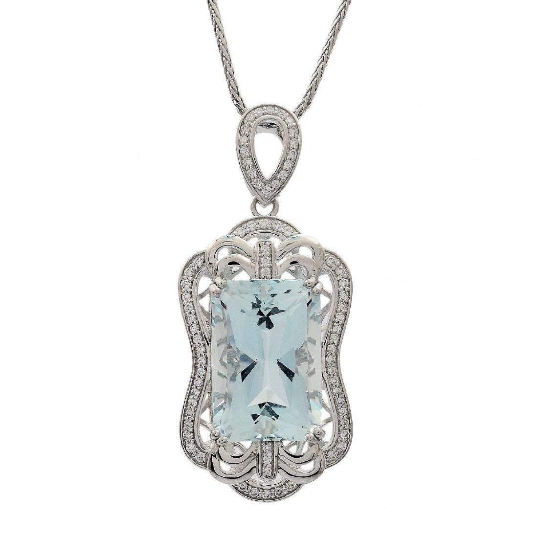Platinum 13.94ct Aquamarine 0.42ctw Diamond Pendant