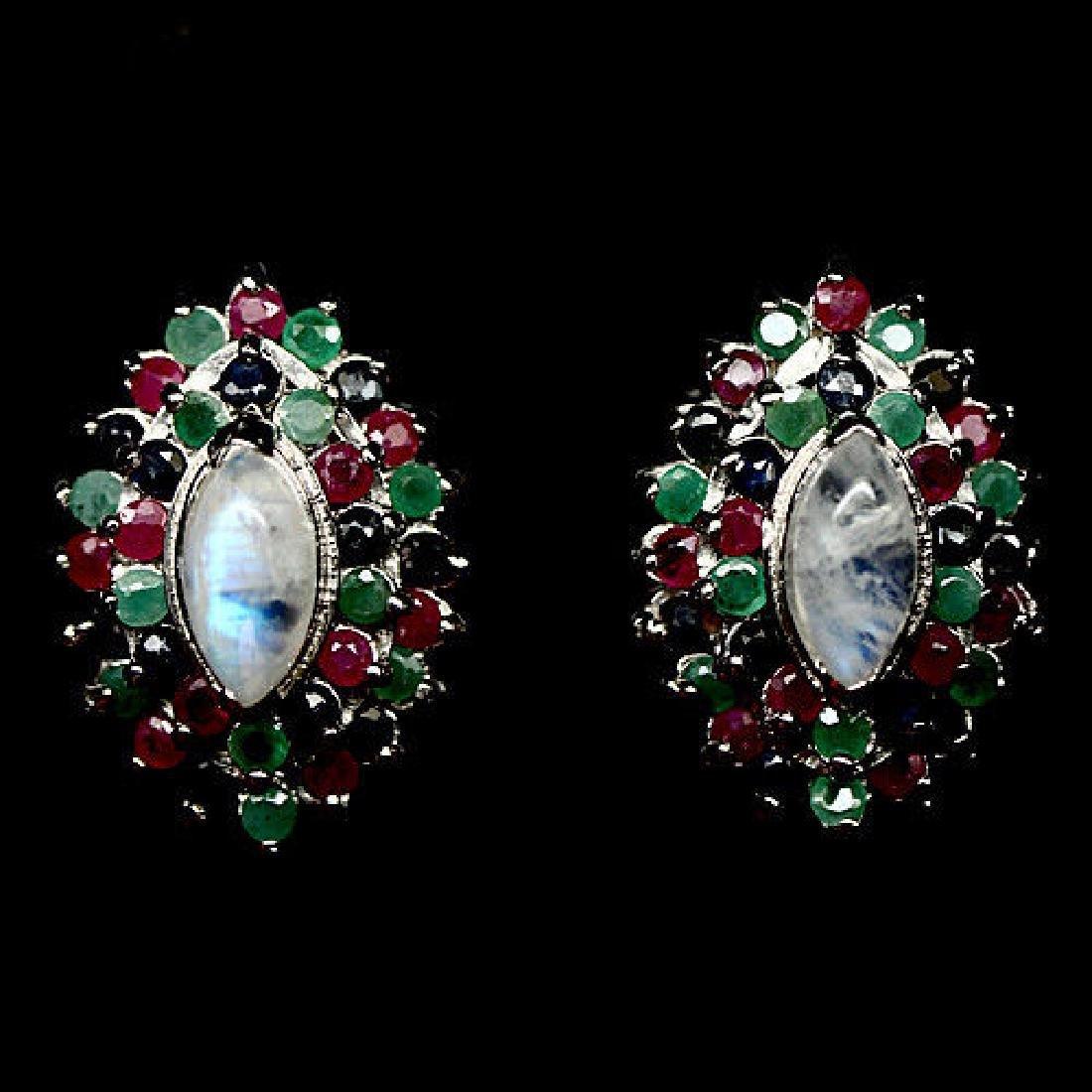 Sterling Silver Moonstone Emerald Sapphire Earrings