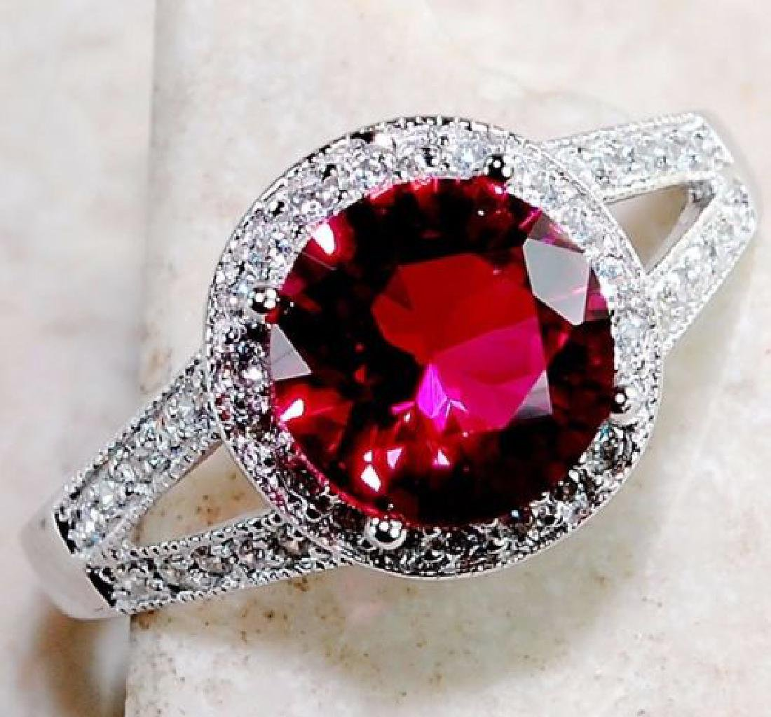 Ruby & White Topaz 925 Solid Sterling Silver Ring