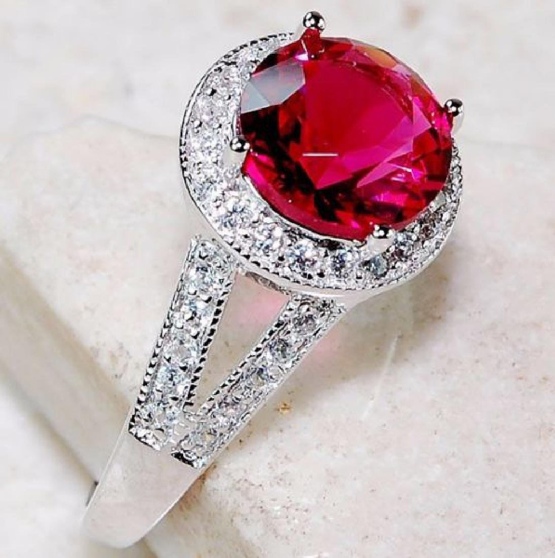 Ruby & White Topaz 925 Solid Sterling Silver Ring - 2