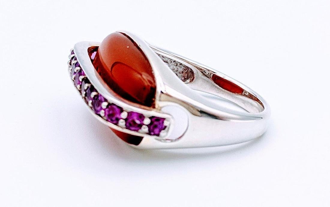 Sterling Silver Agate Pink Amethyst Ring, .19ctw - 2