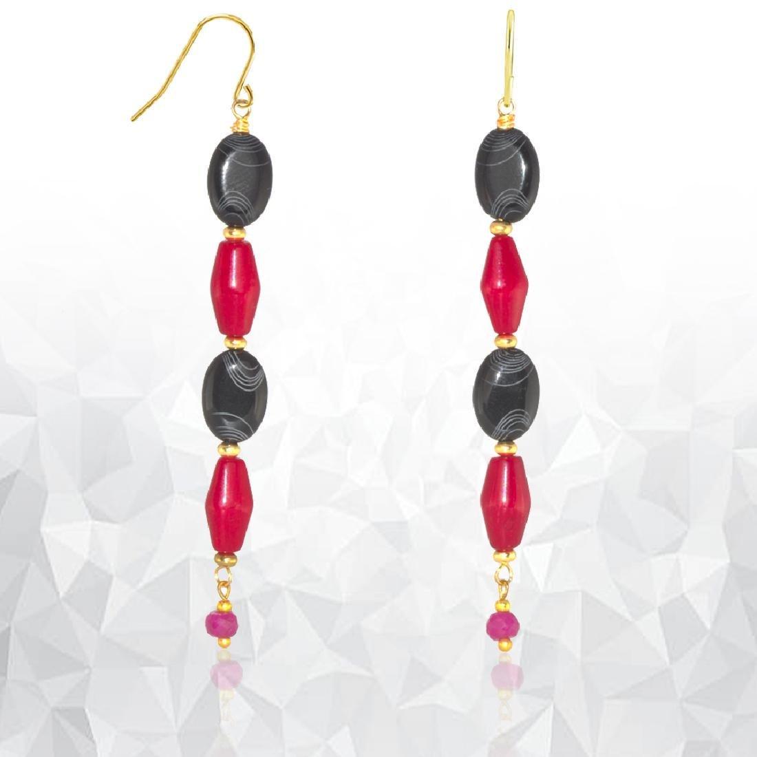 Drop 'Flamenco' Coral, Ruby and Black Onyx Earrings