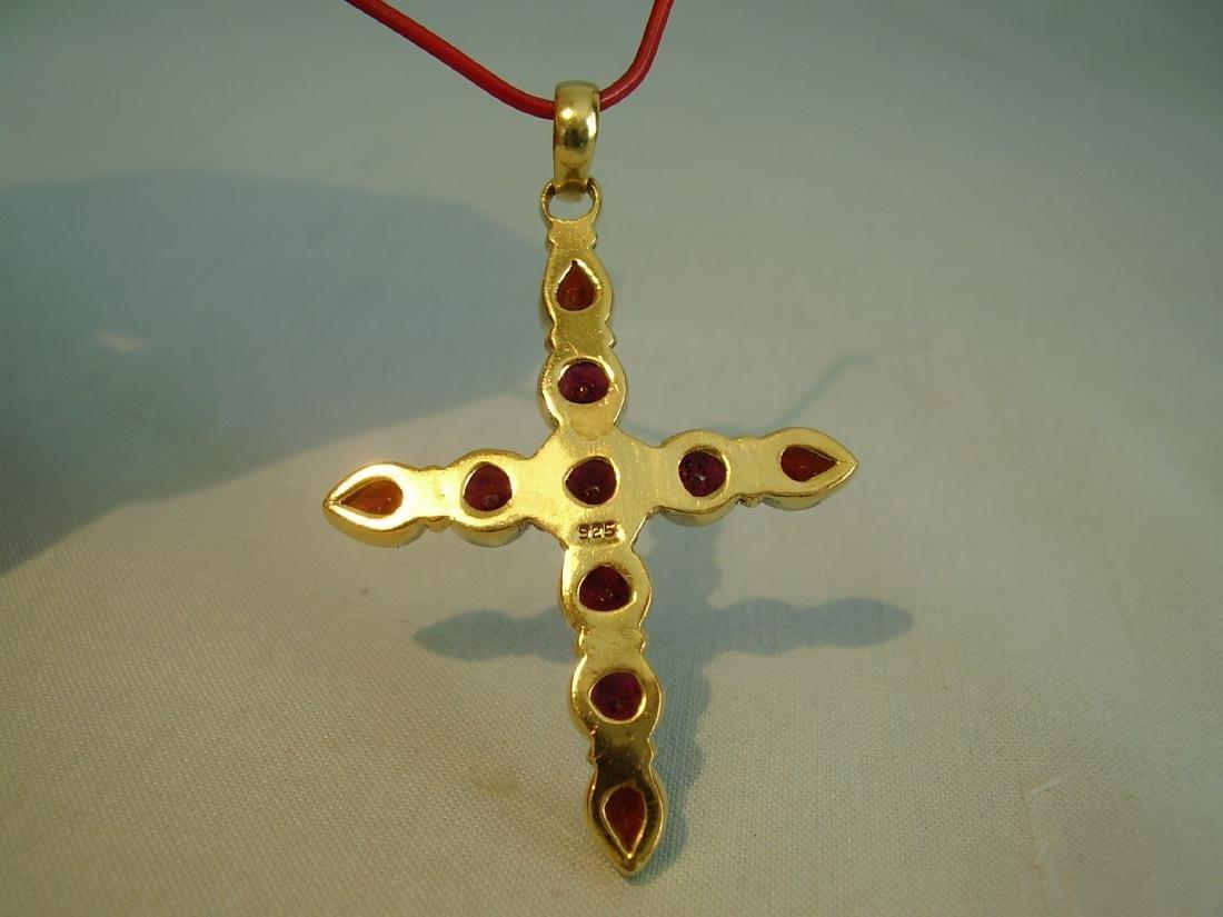 Pendant cross with garnets - 5