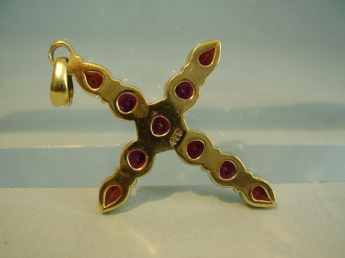 Pendant cross with garnets - 6