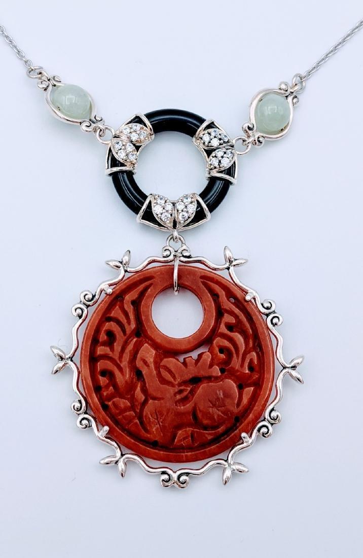 Sterling Silver Jasper Jade Imperial Design Necklace