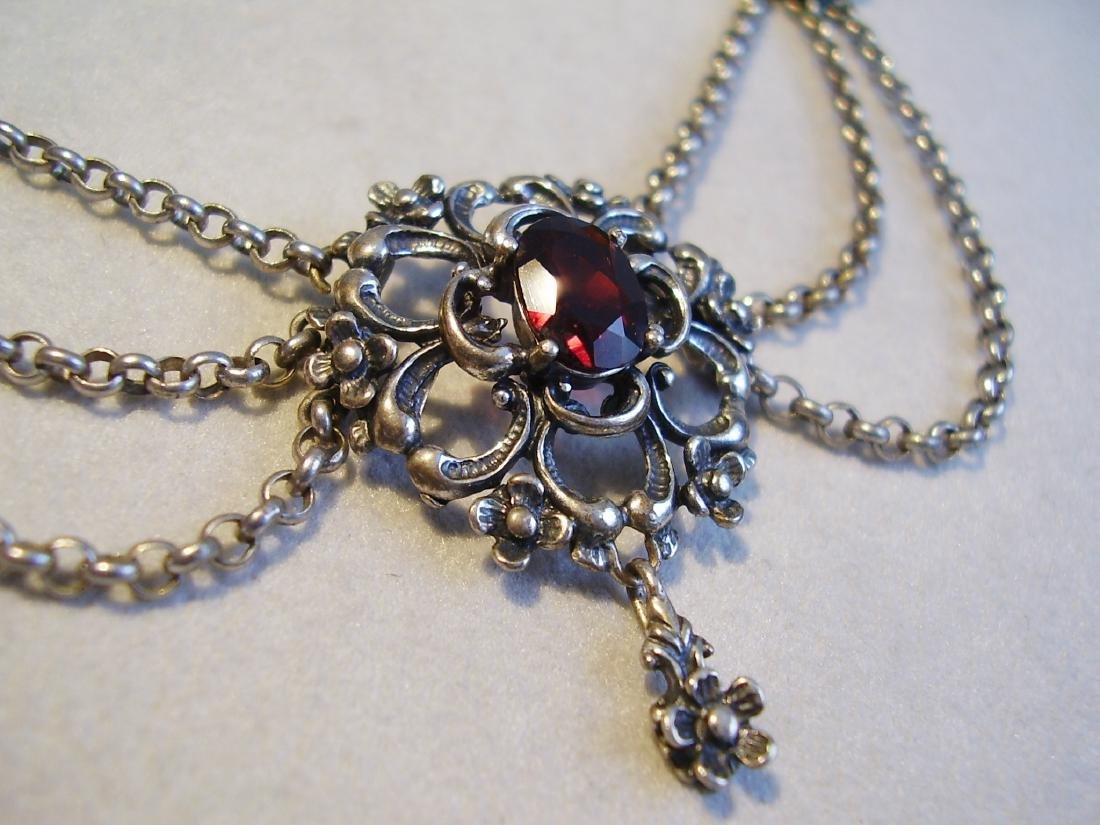 Silver necklace with garnets - 2