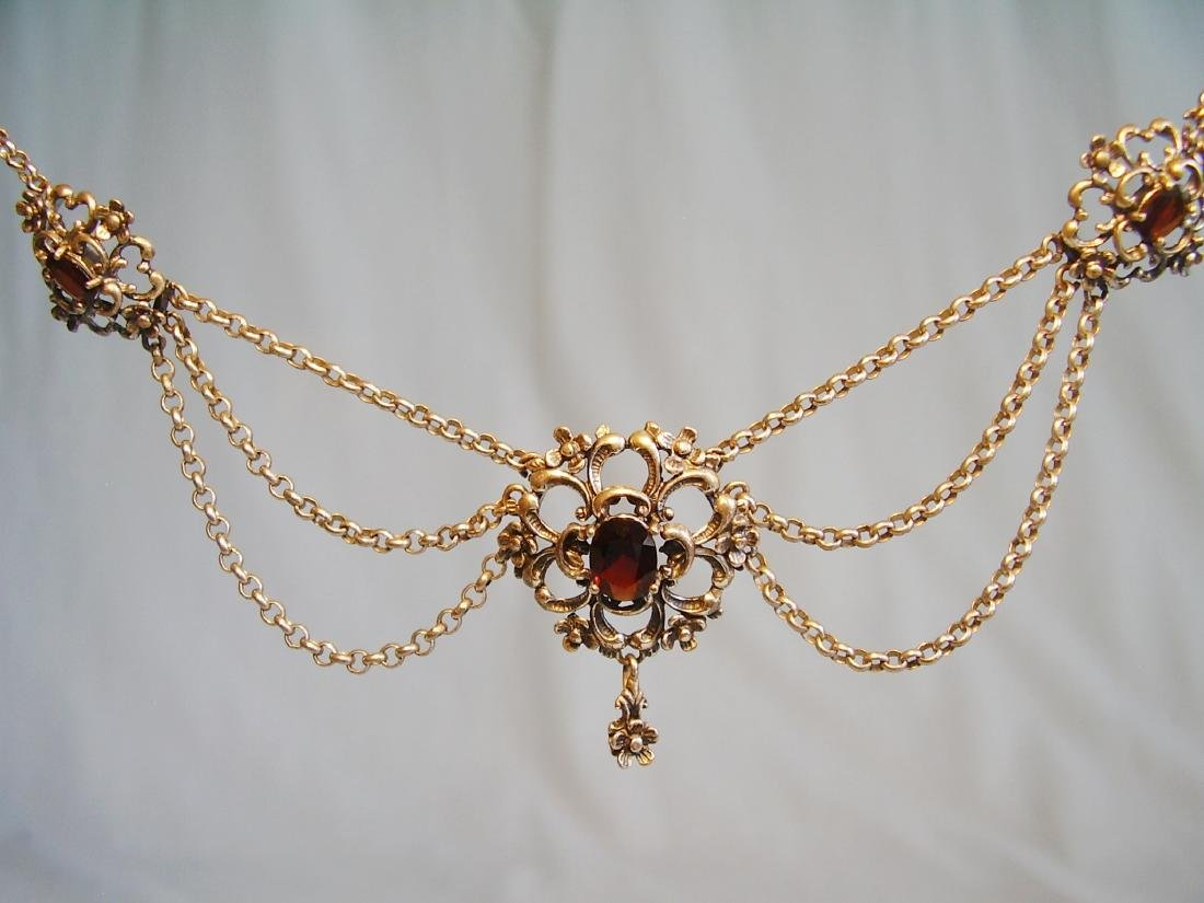 Silver necklace with garnets - 3