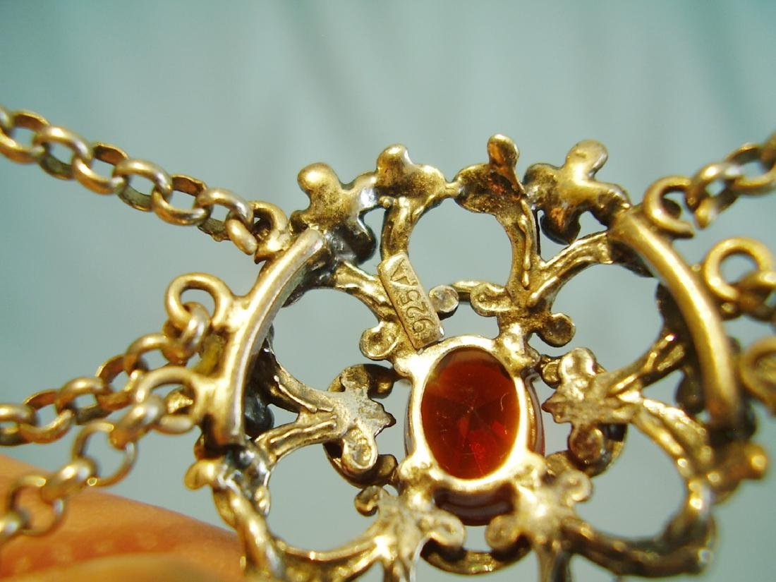 Silver necklace with garnets - 4