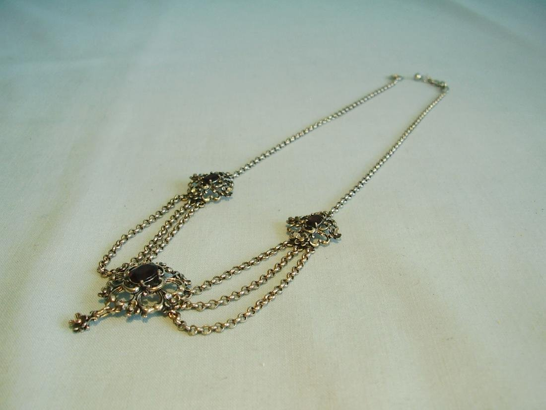 Silver necklace with garnets - 6