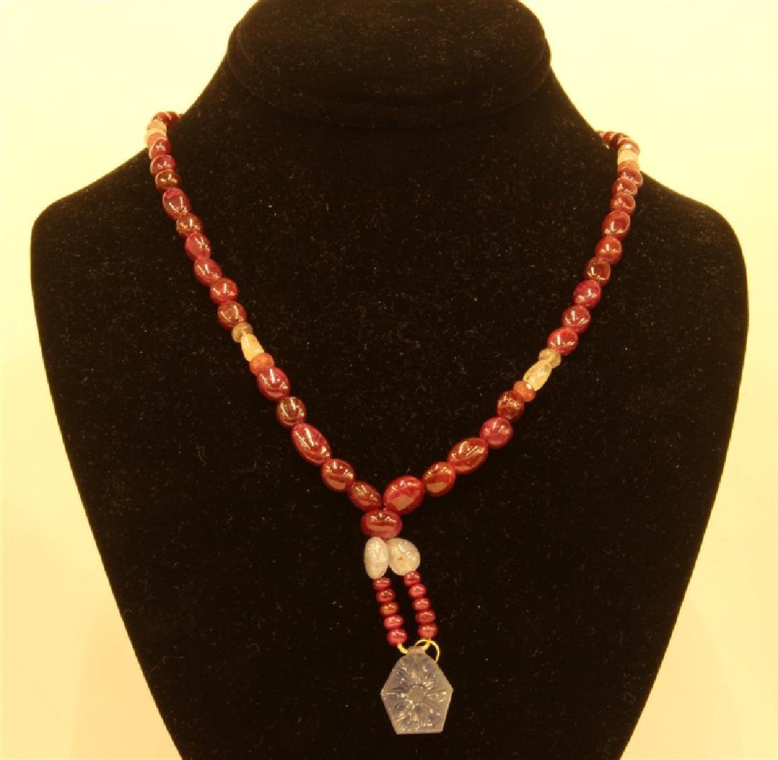 206ct plain And faceted Ruby And Sapphire Necklace