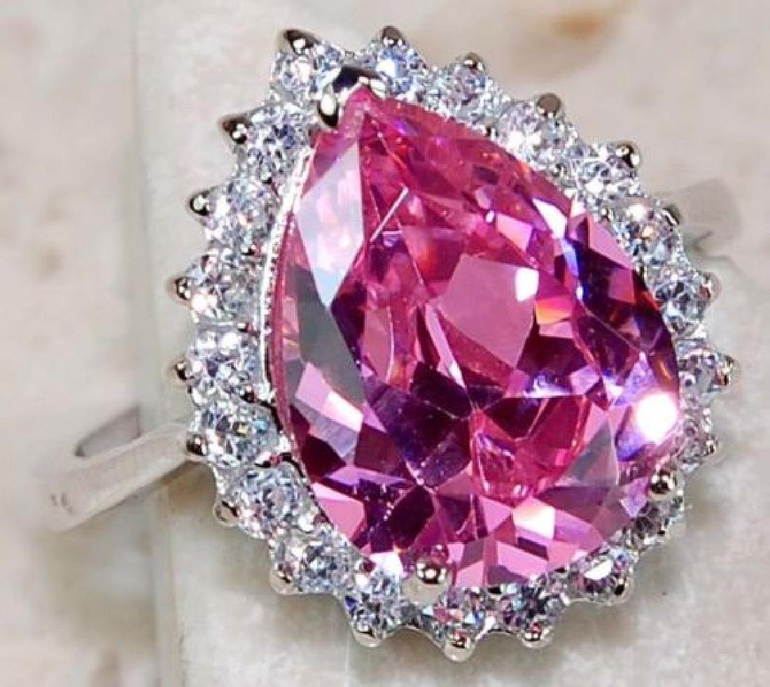 3ct Pink Sapphire & White Topaz Sterling Silver Ring