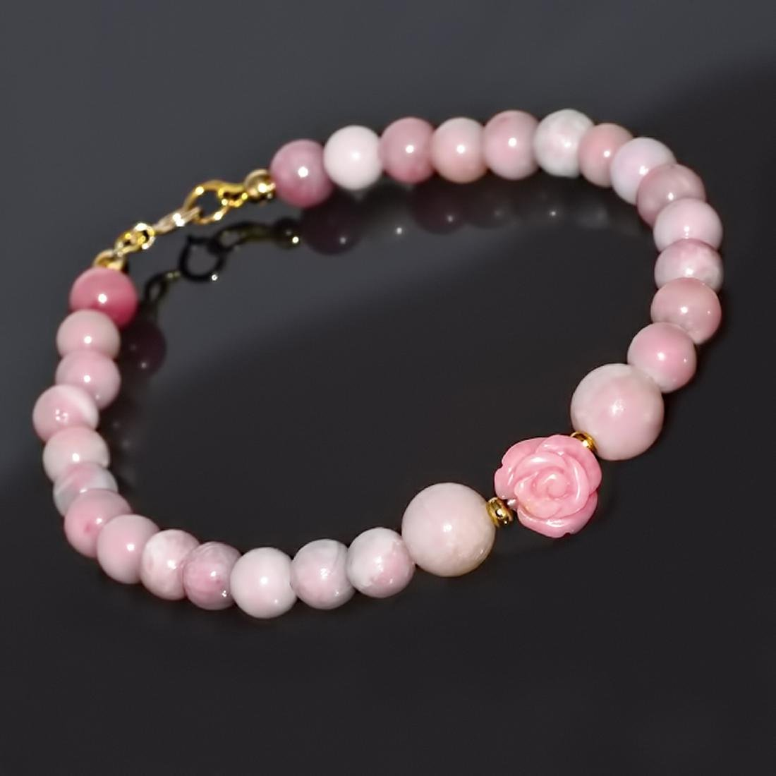 Pink Opal and 'Rose' Coral Classic Bracelet