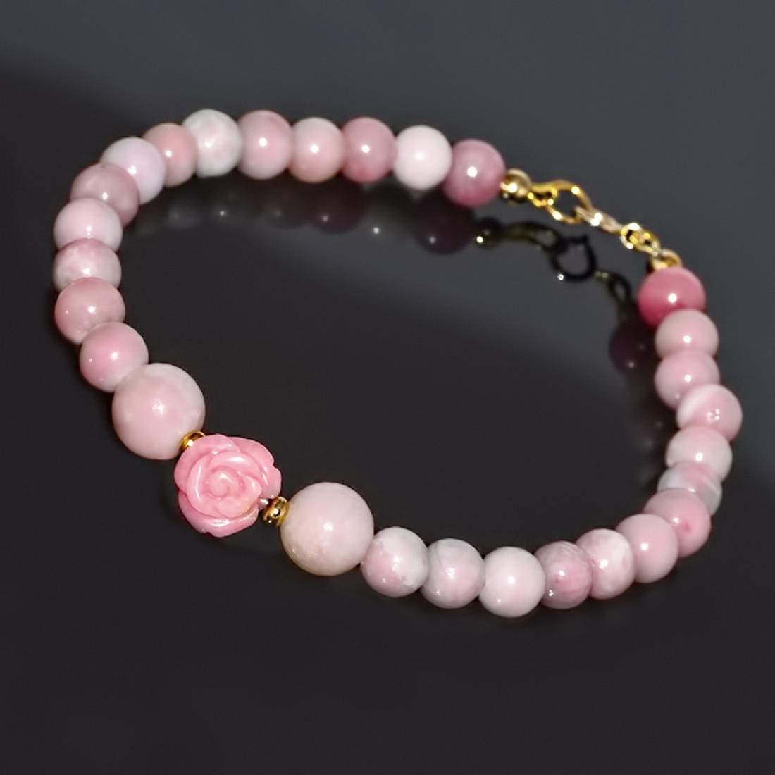 Pink Opal and 'Rose' Coral Classic Bracelet - 3