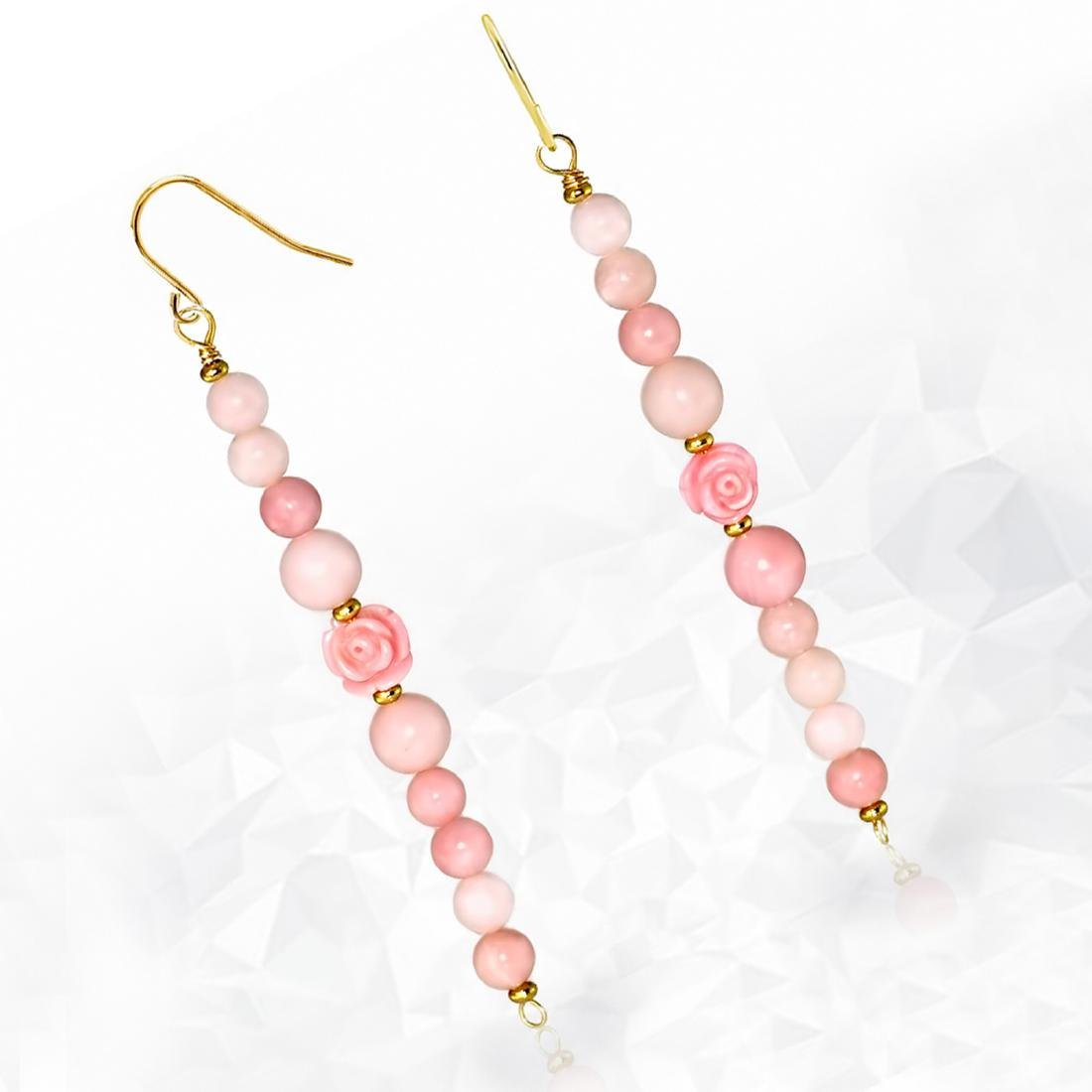 Long Drop 'Rose' Coral and Pink Opal Earrings