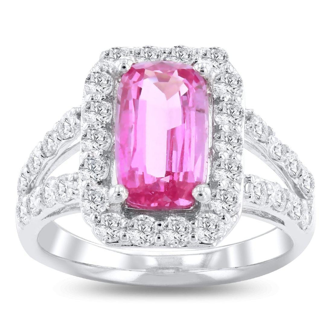 2.76ct Pink Sapphire 1.18ctw Diamond Platinum Ring