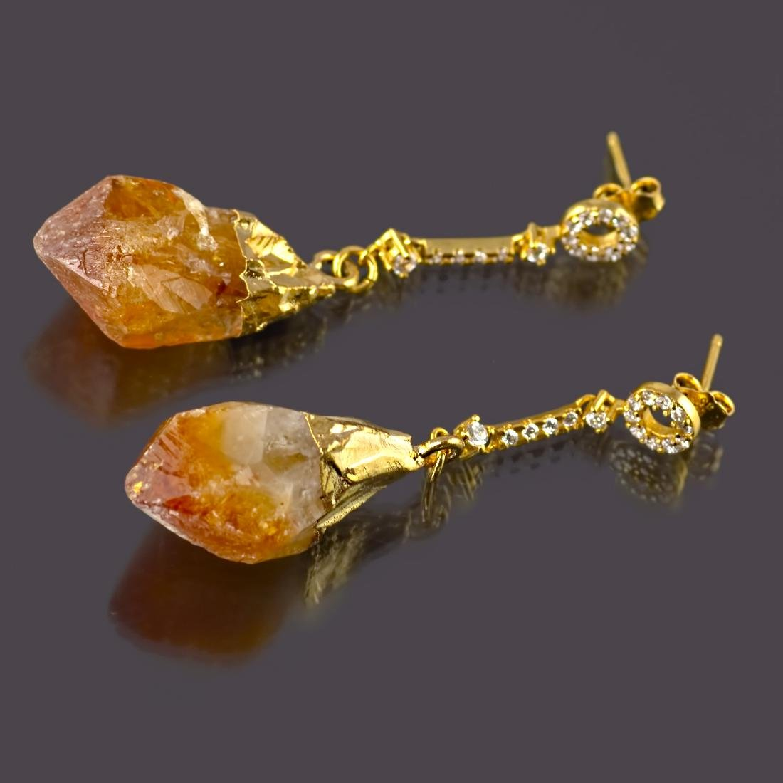 Sparkling Chain Earrings with Raw Citrine Gemstones