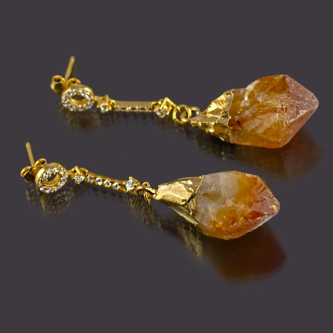 Sparkling Chain Earrings with Raw Citrine Gemstones - 3