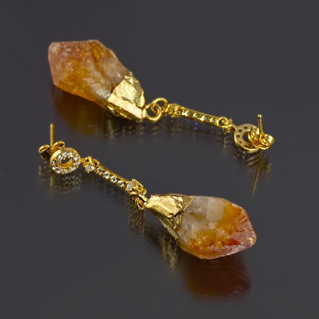 Sparkling Chain Earrings with Raw Citrine Gemstones - 4