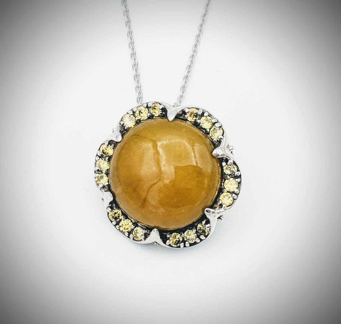 Sterling Silver Yellow Jade Yellow Quartz Necklace