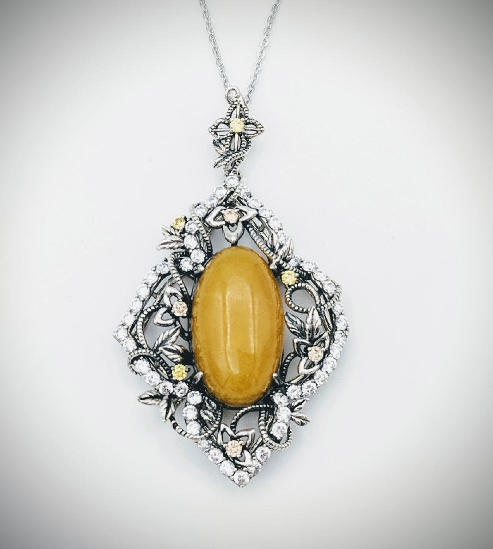 Sterling Silver Yellow Jade Quartz Necklace