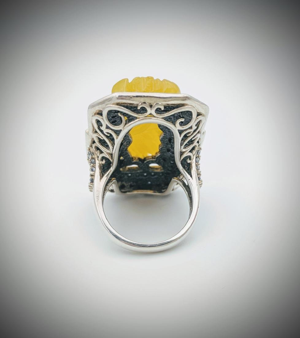 Sterling SilverYellow Jade Imperial Designed Ring - 3