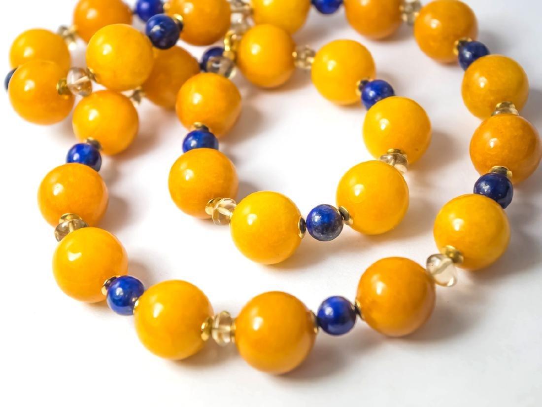 Vintage Style Amber Jade necklace with Lapis Lazuli,