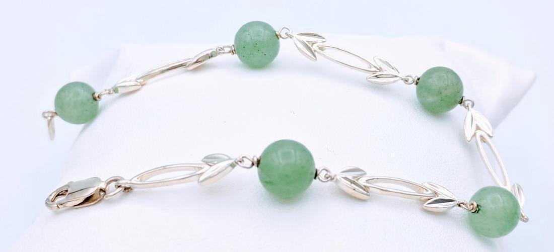 Sterling Silver Jade Beads Bracelet