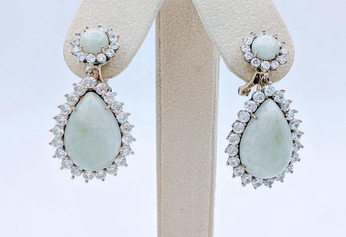 Sterling Silver Jade Cubic Zirconia Drop Earrings