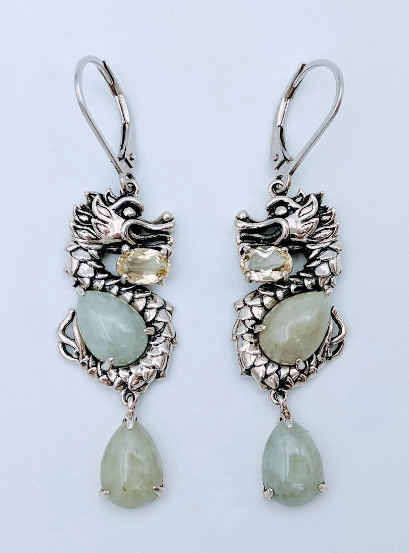 Sterling Silver Jade Prasiolite Figural Dragon Earrings