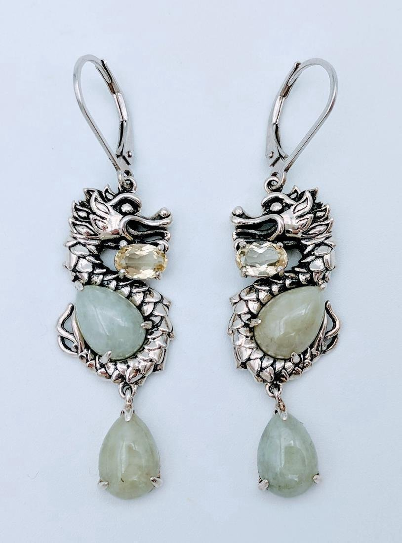 Sterling Silver Jade Prasiolite Figural Dragon Earrings