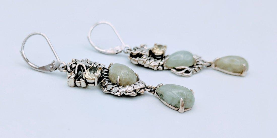 Sterling Silver Jade Prasiolite Figural Dragon Earrings - 2