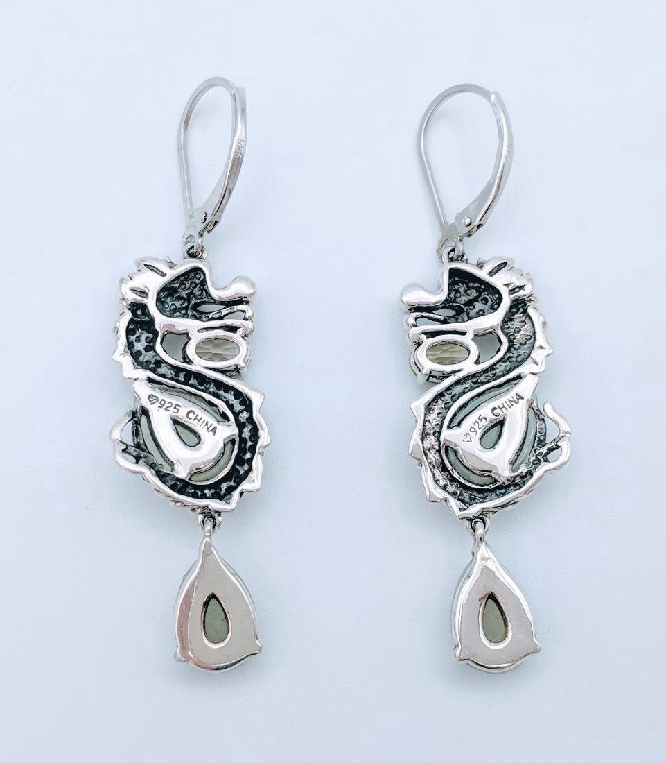 Sterling Silver Jade Prasiolite Figural Dragon Earrings - 3