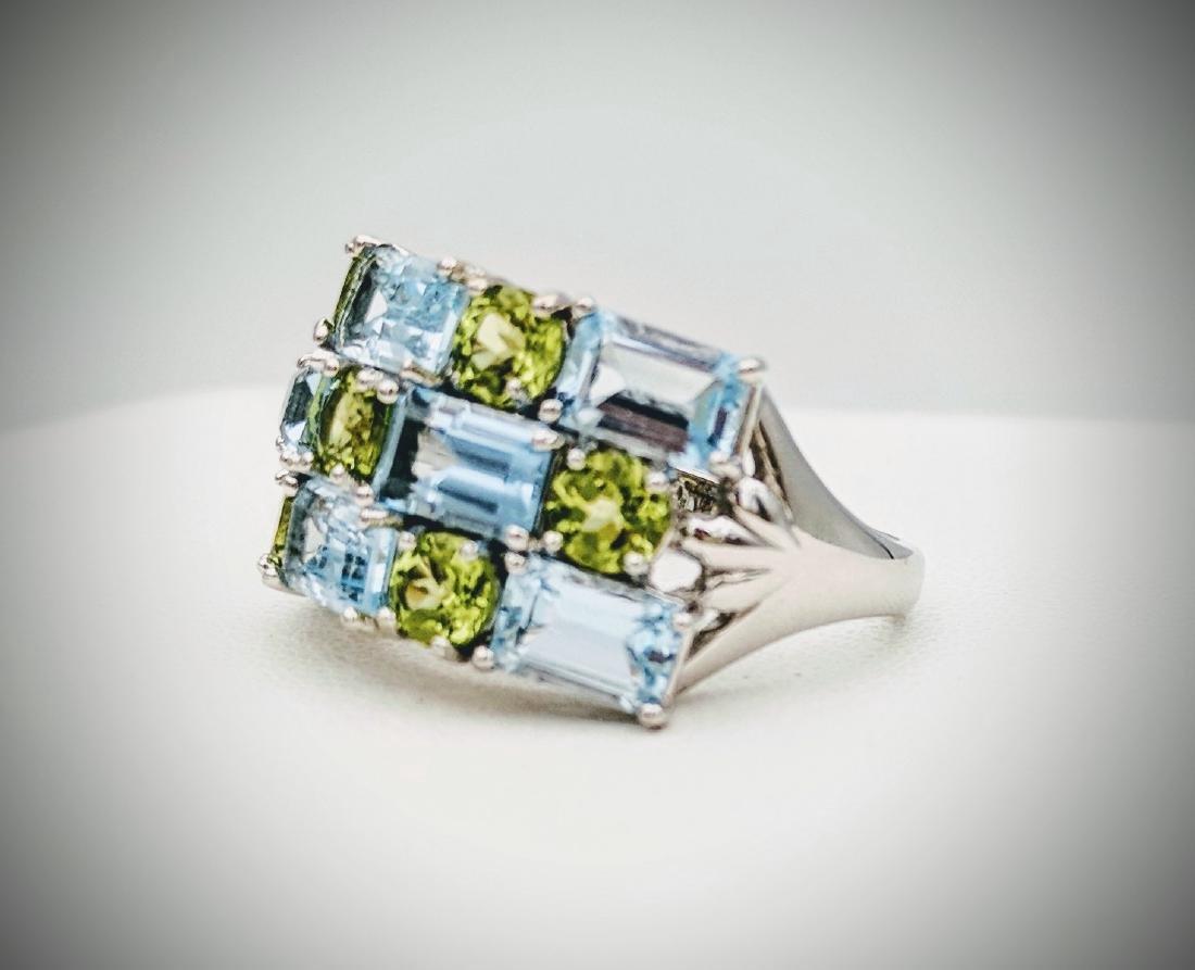 Sterling Silver Topaz & Peridot Ring, 4.66ctw - 2