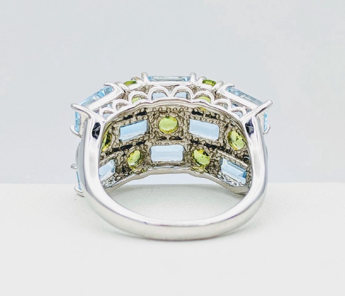 Sterling Silver Topaz & Peridot Ring, 4.66ctw - 3