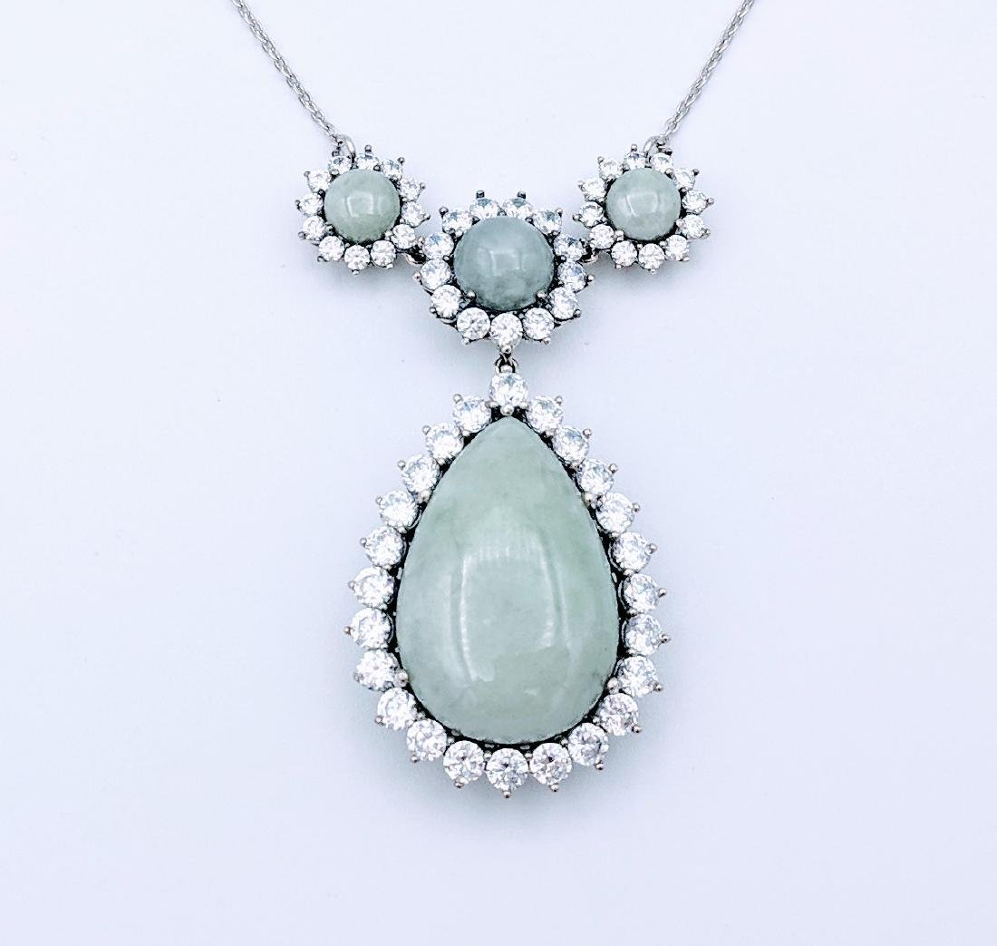 Sterling Silver Jade and Cubic Zirconia Necklace