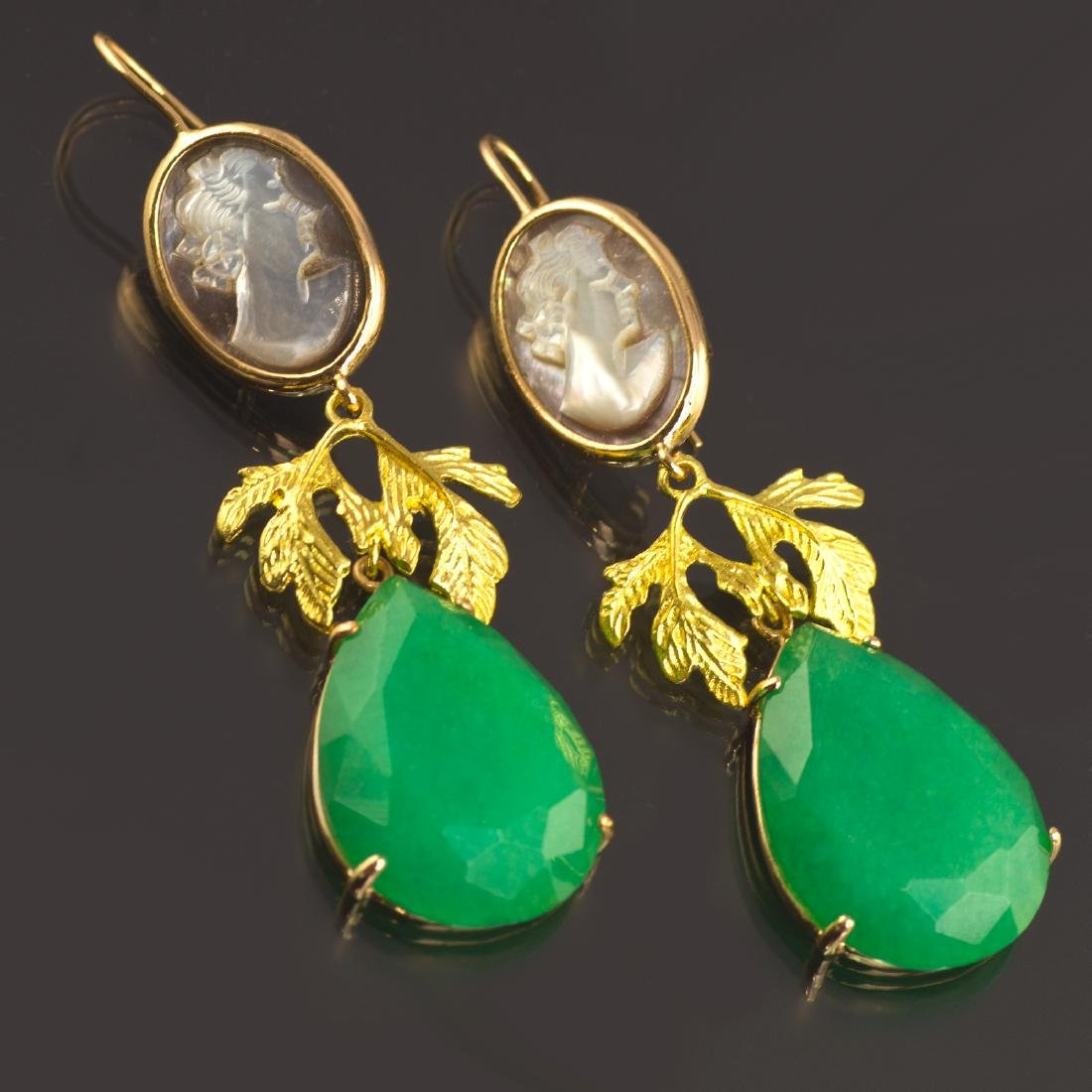Classic Earrings with Jade and Cameo - 3
