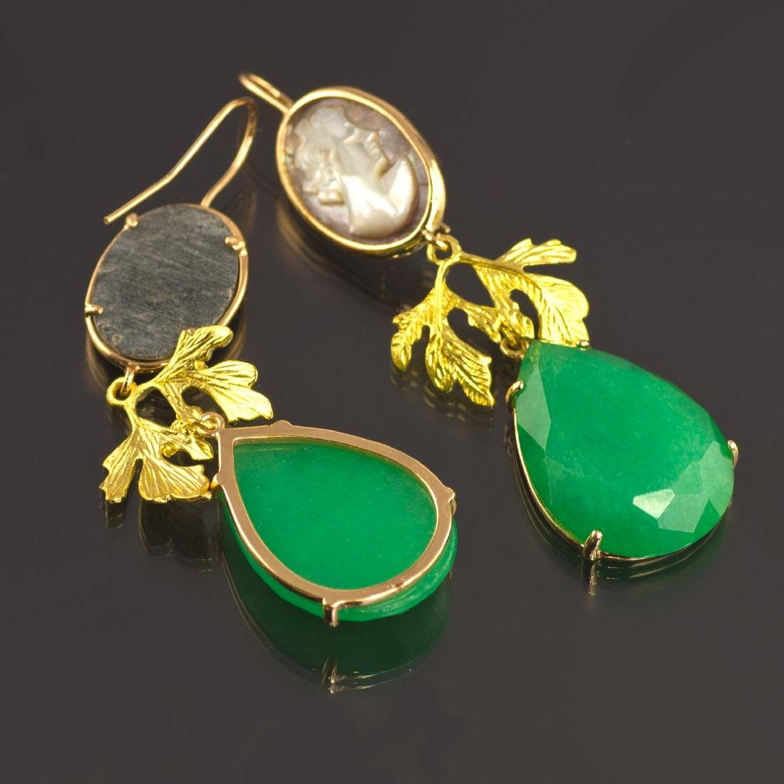 Classic Earrings with Jade and Cameo - 4