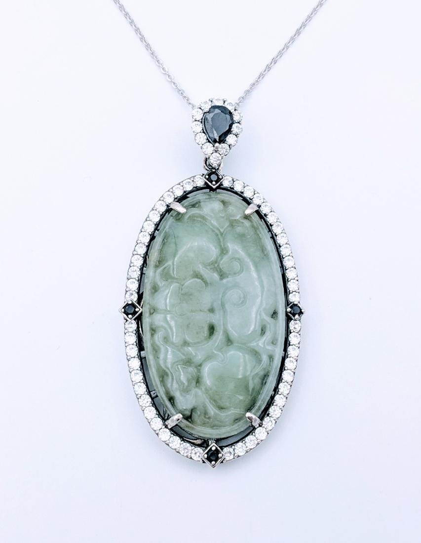 Sterling Silver Engraved Jade Black Onyx Necklace